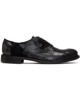 Black Leather Patchwork Derbys