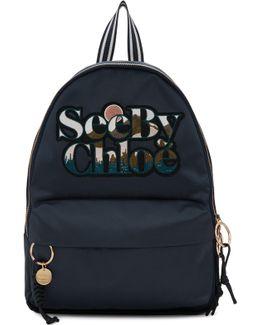 Blue Satin Logo Backpack