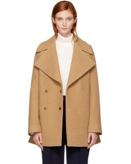 Tan Double-breasted Wool Coat