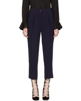 Navy Crepe Sable Trousers