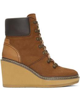 Brown Nubuck Eileen Wedge Boots
