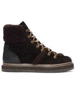 Black Shearling Eileen Boots
