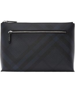 Navy Duncan London Check Pouch