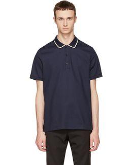 Navy Striped Collar Polo