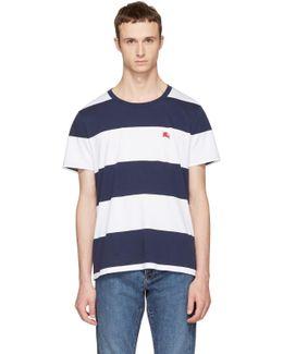 Navy & White Large Stripe Logo T-shirt