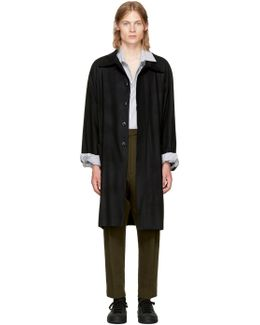 Black Raw Cut Trench Coat