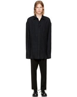 Black Wool Check Shirt