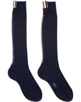 Navy Over-calf Rib Socks