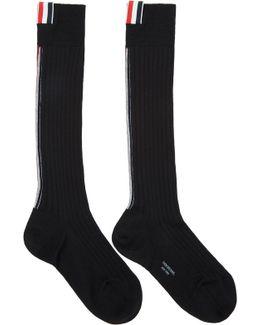 Black Over-calf Rib Socks