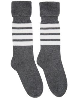 Grey Mid-calf Four Bar Socks