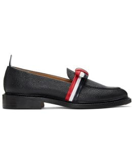 Black & Tricolor Bow Loafers