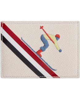White & Green Skier Single Card Holder