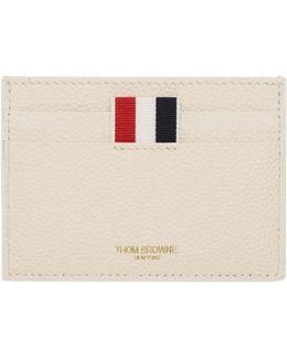 White Horizontal Stripes Single Card Holder