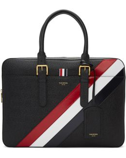Diagonal Stripe Business Briefcase Tote Bag