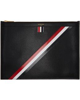 Black Medium Diagonal Stripe Zipper Document Holder