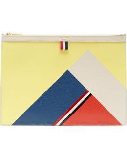 Yellow Colorblock Medium Zipper Document Holder