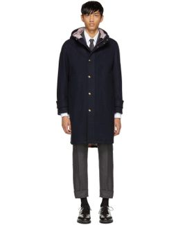 Navy Snap Front Hooded Parka