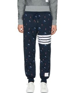 Navy Classic Four Bar Skier Lounge Pants