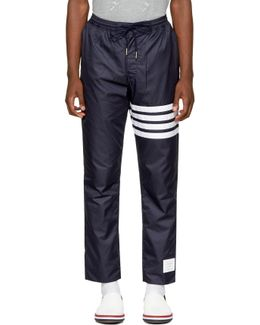 Navy Ripstop Four Bar Zip-up Lounge Pants
