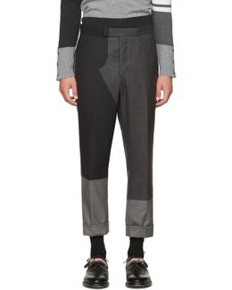 Grey Pattern Patchwork Backstrap Trousers