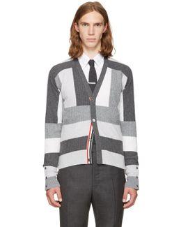 Grey Saddle Sleeve V-neck Cardigan