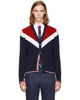 Tricolor Saddle Sleeve V-neck Cardigan