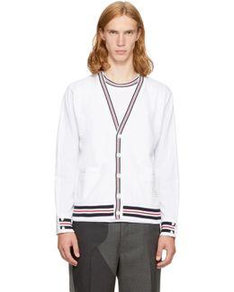 White Reconstructed Pocket T-shirt V-neck Cardigan