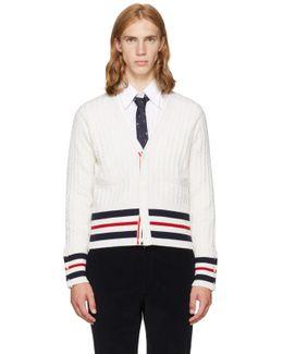 White Cricket Stripe Trompe L'oeil V-neck Cardigan