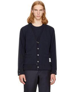 Navy Reconstructed Pocket T-shirt V-neck Cardigan