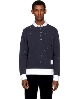Navy Long Sleeve Skier & Flag Collection Polo