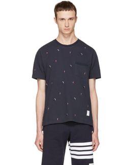 Navy Skier & Flag Piqué Crewneck T-shirt