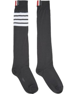 Grey Ribbed Knee-high Four Bar Socks
