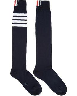 Navy Ribbed Knee-high Four Bar Socks
