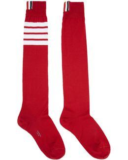 Red Ribbed Knee-high Four Bar Socks