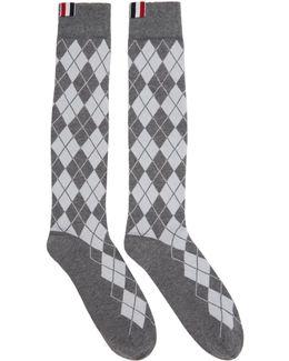 Grey Argyle Intarsia Over-the-calf Socks