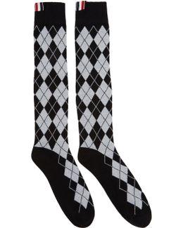 Black Argyle Intarsia Over-the-calf Socks