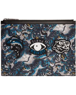 Multicolor Flying Tiger & Eyes Multi Icons Pouch