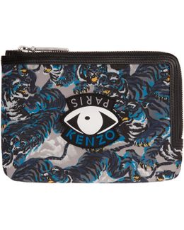 Multicolor Flying Tiger & Eyes Multi Icons Passport Pouch