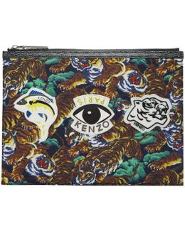 Multicolor Flying Tiger & Eye Multi Icons Pouch