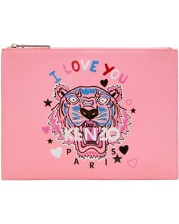 Pink Limited Edition 'i Love You' Logo A4 Pouch
