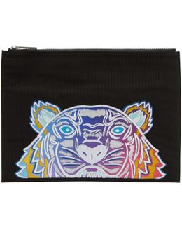 Black Limited Edition Embroidered Tiger Pouch
