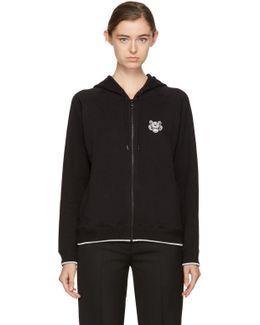 Black Tiger Crest Zip Hoodie