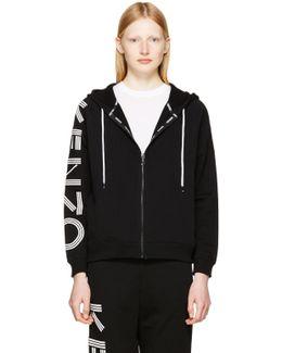 Black Logo Sleeve Zip Hoodie