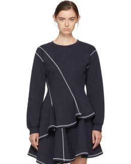 Navy Asymmetric Peplum Sweatshirt