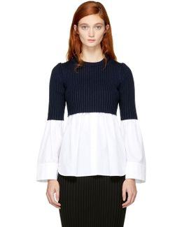 White & Navy Layered Shirt Sweater
