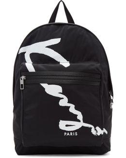Black Signature Logo Backpack