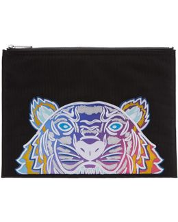 Black Embroidered Tiger Pouch