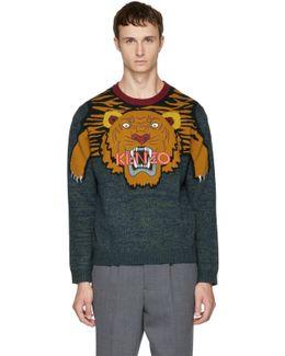 Multicolor Intarsia Tiger Sweater