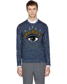 Navy Intarsia Eye Sweater