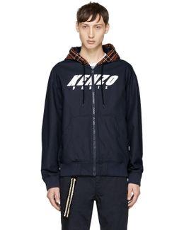 Navy Logo Hoodie Jacket